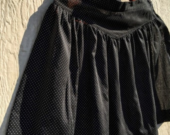 Vintage 1980s 80s Black Swiss Dot Mini Skirt 1980's 80's Revamped L XL