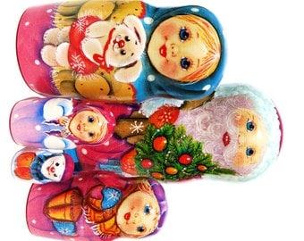 From Santa 5-piece Wooden Babushka Christmas Nesting Doll