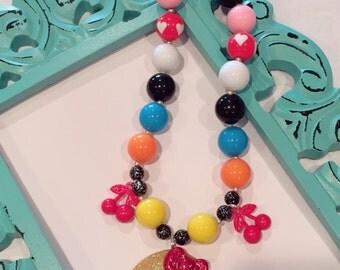 Glittery Retro Mrs. Pacman Gamer Chunky Bubblegum Bead Necklace 3LSS Exclusive Design