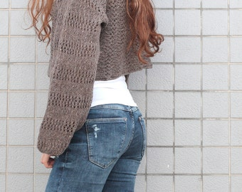 Hand knit sweater Little cover up top cropped sweater barley pullover sweater