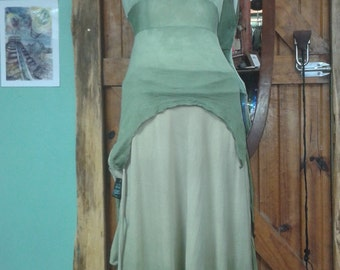 Hand dyed Silk Blend Fairy Goddess top in ombre ghostgum pale green