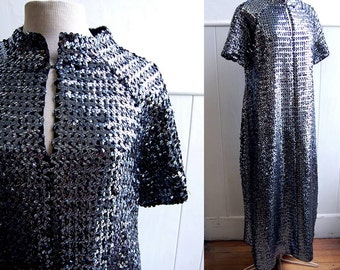 1960s Gunmetal Silver Sequin Dress // Full Length