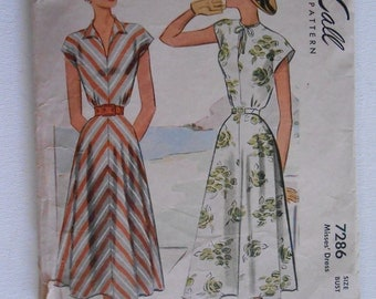 Vintage 40s Misses V Neck Cap Sleeve Summer Dress Sewing Pattern McCall 7286 Size 18 Bust 36