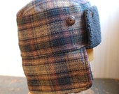 Furry Russian XL: winter earflap bomber style hat in brown plaid wool tweed