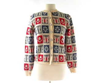 Vintage Patchwork Sweater | The Lepidopterist | Wool Cardigan | 60s Sweater | Small S