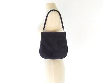 Vintage 50s Purse / 1950s Handbag / Navy Blue Leather Bag