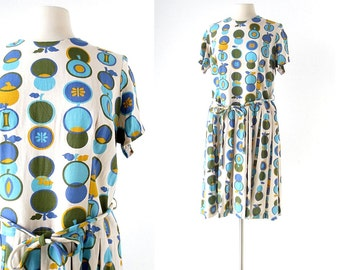 Vintage 60s Dress / Hedelmät / Fruit Print Dress / 1960s Dress / XL