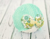3 to 6 month baby hat // photo prop // baby girl photography // chic baby hat  // bow hat // vintage // mint // St. Patricks Day // RTS