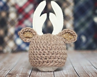 baby deer hat // hunting hat // multiple sizes // newborn photo prop // antler hat // boy // girl // fall photo prop