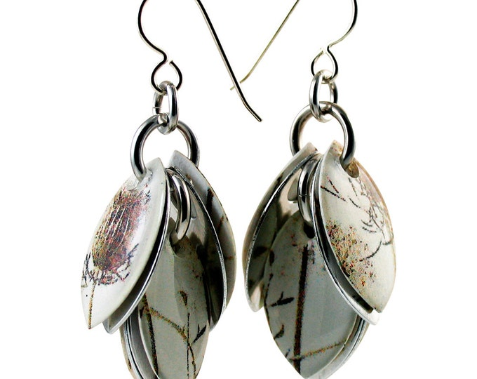 Custom Handcrafted Black and White Thistle Dangle Earrings