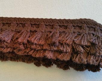 FR008 ~ Cotton trim Brown fringe 4 yards