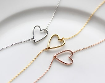 Open Heart Necklace - Gold Silver Rose Gold Bridesmaid Gift Gold Heart Charm Wedding Bridal Gift Valentines Necklace Love Heart Jewelry