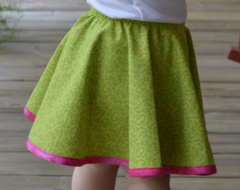 Toddler Circle Skirt Reversible Lime Green Pattern with Polka Dot Print Pink Trim and Snail Applique Garden Party Dress or Birthday Outfit