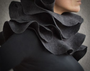 Elegant statement scarf Charcoal grey nuno felted ruffled shawl Wearable wool silk fiber art Eco fashion Made to order