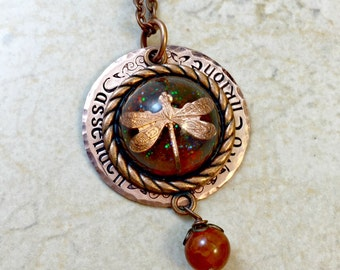 Dragonfly in Amber Necklace, Sassenach Necklace, Mo Chridhe Necklace, Celtic Jewelry, Hand Stamped Copper, Celtic Knot, Gaelic