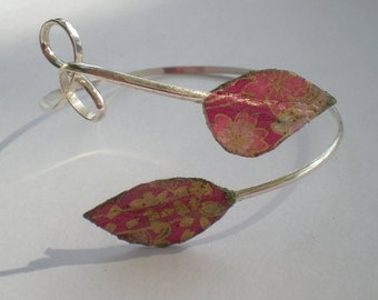 Unique Fine Silver wrap bracelet accented with  handmade Washi paper leaves in pink.
