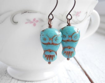 Czech Glass Owl Earrings - Bright Turquoise Owls