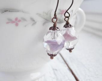 Beaded Earrings - Lavender Frost