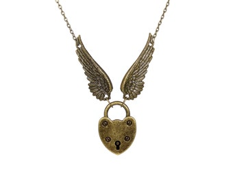 Angel Wing Necklace - Padlock Necklace - Engraved Padlock - Couples Jewelry - Skeleton Key Necklace - Padlock Collar - Bdsm Jewelry