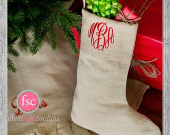 NATURAL Personalized Christmas Stocking , monogrammed christmas stocking , christmas stocking , personalized stocking