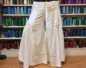 2X White Palazzo Pants with Pockets/Plus Size Pants/Wide Leg Pants/Skirt Pants/Long Pants/Linen Pants/High Waisted/Boho/Upcycled Recycled