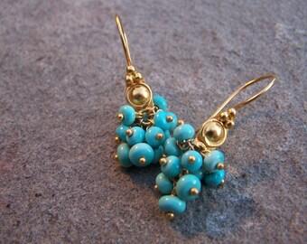 Sleeping Beauty Turquoise earrings | Turquoise gold earrings | Turquoise cluster gemstone earrings | Sleeping beauty turquoise | Natural gem