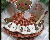 "Primitive Raggedy NEW ""TINY COOKIE""~w/rolling pin~Gingerbread Doll Collection!"