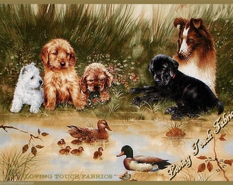 "SPX Giordano ""Dog Days""  Dogs & Puppies By The Pond Cotton Fabric Panel 23"" x 43"""