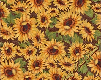 """Susan Winget / Springs """"Harvest Blessings Sunflowers"""" #14045 Cotton Fabric Priced Per 1/2 Yd 18"""" x 43"""""""