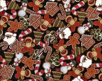 "Dan Morris / RJR ""Holly Jolly"" #2323 Christmas Gingerbread Cookies Fabric Priced Per 1/2 Yd."