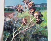 Thistle -Rural landscape - Sunset view- Print of original painting -  wall art - square print on paper