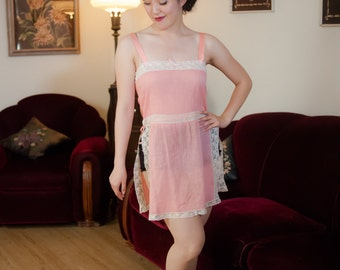 Vintage 1920s Chemise - Darling Windowpane Weave Pink Cotton 20s Teddy with White Lace Trim and Scandalous Slit Sides