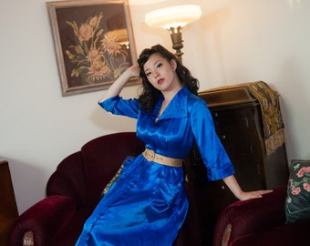 Vintage 1940s Dressing Gown - Glamorous Royal Blue Rayon Satin 40s Hostess Gown with Long Hidden Zipper and Trapunto Embroidery
