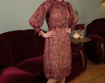 Vintage 1930s Dress - Delightful Dark Floral Print Sheer Silk Chiffon 30s Day Dress with Full Sleeves and Shirred Yoke