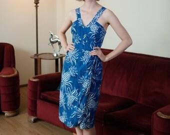 Vintage 1950s Dress - Fantastic Pineapple Print One Piece 50s Hawaiian Playsuit Sarong Dress