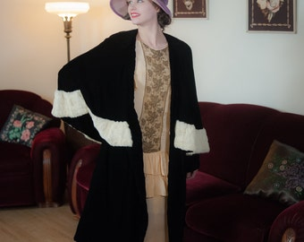 Vintage 1920s Coat - Incredible Black Silk Velvet 20s Cocoon Coat with Ermine Trim Capelet and Bergdorf Goodman Label