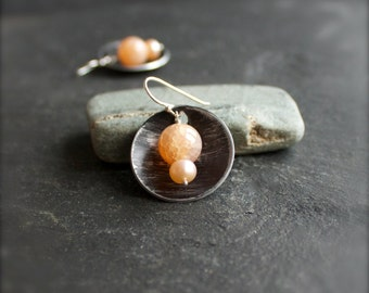 Peach Pearl Drop Earrings - Sterling Silver, Cracked Agate Gemstone, Black Distressed Round, Boho Jewellery