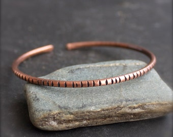 Forged Copper Cuff Bracelet - E - Grooved Texture