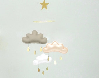 "Bestseller : Taupe,Peach,White cloud mobile for nursery with gold star "" TAUPE IRINA"" by The Butter Flying-Rain Cloud Mobile Nursery"