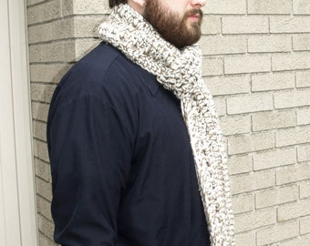 Dude Scarf - Scarf for Man, Extra Long, Unisex, Chunky, Crocheted, Neutral, Cream, Tan, Soft, Scarves for Men, Ready to Ship