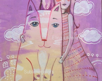 Cat and a Girl, Friends, Original acrylic painting Wall Art