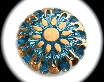 4 Czech Glass Buttons on SALE, 27mm 1-1/16 inch - Gold Sun on Blue Sky - Iridescent Blue and Gold Sunflower Buttons - CLEARANCE