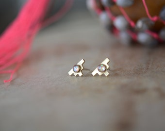 studs, tiny, earrings, opal, gold, aztec, dainty, delicate // OPAL AMULET STUDS