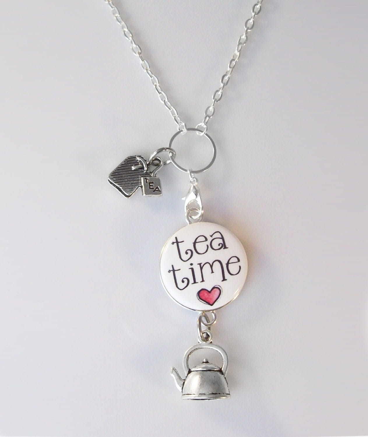 tea time changeable magnetic 1 pendant necklace with 2