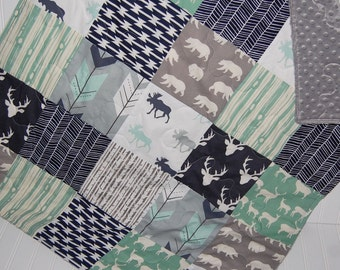 baby boy quilt-minky baby quilt- deer baby quilt- mint baby quilt- navy baby bedding- arrow baby quilt- moose baby quilt- baby boy bedding