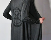 Hell Couture Pentagram Gray Midi Robe