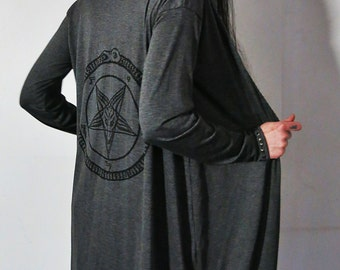 Hell Couture Pentagram Gray Midi Robe