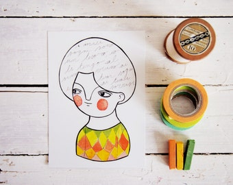 Words postcard, modern girl portrait illustration