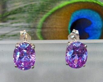 Earrings: Color-Changing Purple Pink CZ Stud Earrings - Sterling Silver Posts