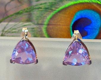 Amethyst Trilliant Post Earrings ~ 5.79 ct. Clear Purple BLING ~ Sterling Silver Studs